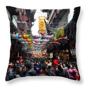 Crowds Throng Shanghai Chenghuang Miao Temple Over Lunar New Year China Throw Pillow