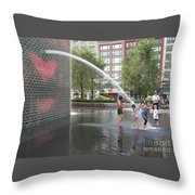 Crown Fountain Play Throw Pillow