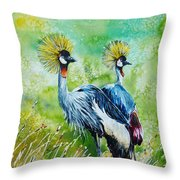 Crowned Cranes Throw Pillow