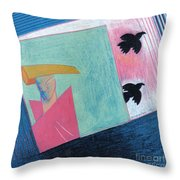 Crows And Geometric Figure Throw Pillow