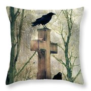 Urban Graveyard Crows Throw Pillow