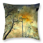 Crows Colors Throw Pillow