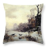 Crows In A Winter Landscape Throw Pillow by Karl Kustner