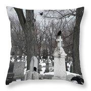 Crows In Gothic Winter Wonderland Throw Pillow