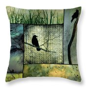 Crows In Nature Collage Throw Pillow