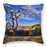 Crows Of The Grand Canyon Throw Pillow
