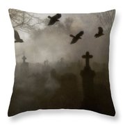 Crows On A Eerie Night Throw Pillow