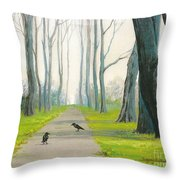 Crows On The Path Throw Pillow