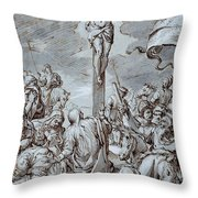 Crucifixion Throw Pillow by Johann or Hans von Aachen
