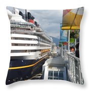 Cruise Dockside In Vancouver Throw Pillow
