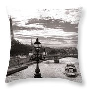 Cruise On The Seine Throw Pillow by Olivier Le Queinec