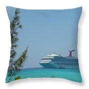 Cruise Ship At Half Moon Caye Throw Pillow