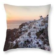 Cruise Ship At Sunset In The Mediterranean Sea Santorini Greece Throw Pillow