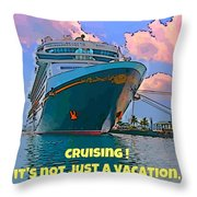Cruise Ship In Port Throw Pillow