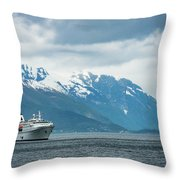 Cruise Ship In The Sognefjord In Norway Throw Pillow