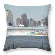 Cruise Ship On The Hudson Throw Pillow