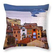 Cruise Ships At St.tropez Throw Pillow