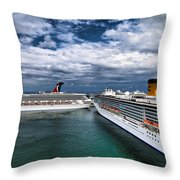 Cruise Ships Port Everglades Florida Throw Pillow