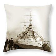 Cruiser Uss New York Going Into Dry Dock San Francisco Circa 1903 Throw Pillow
