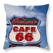 Cruisers Cafe 66 Sign Throw Pillow