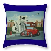 Cruisin' At The Pup Cafe Throw Pillow