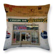 Cruisin' The Mother Road W Water Droplets Throw Pillow