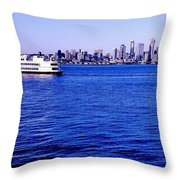Cruising Elliott Bay Throw Pillow