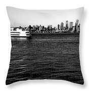 Cruising Elliott Bay Black And White Throw Pillow