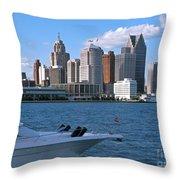 Cruising Past Detroit Throw Pillow