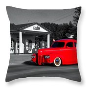 Cruising Route 66 Dwight Il Selective Coloring Digital Art Throw Pillow