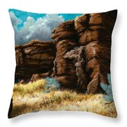 Crumbling Cliffs At Harney Or Throw Pillow