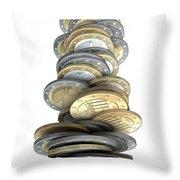 Crumbling Coins Throw Pillow by Allan Swart