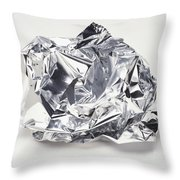 Crumpled Aluminum Foil Throw Pillow