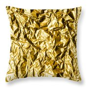 Crumpled Gold Foil Throw Pillow