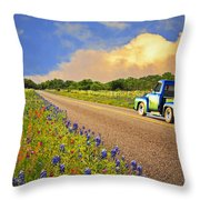 Crusin' The Hill Country In Spring Throw Pillow