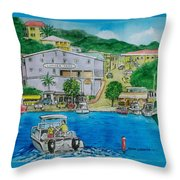 Cruz Bay St. Johns Virgin Islands Throw Pillow