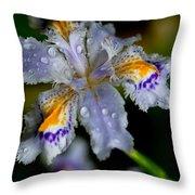 Crying Fringed Iris-iris Japonica Throw Pillow