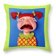 Crying Girl Throw Pillow