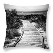 Crystal Cove Wooden Walkway In Black And White Throw Pillow