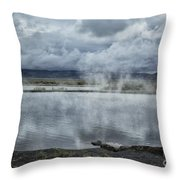 Crystal Crane Hot Springs Throw Pillow