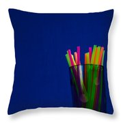 Crystal Glass And Plastic Straw 20140812-10a Throw Pillow