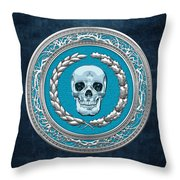 Crystal Human Skull On Blue Throw Pillow