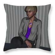 Crystal In Gray Waiting Throw Pillow
