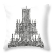 Crystal Palace Chandelier In Black And White Throw Pillow