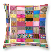 Crystal Stone Collage Layered In Small And Medium Sizes Variety Of Shades And Tones From Reiki Heali Throw Pillow