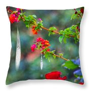 Crystals On Flowers Throw Pillow