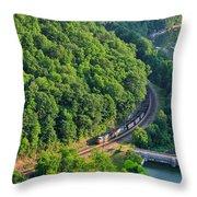 Csx Train At Hawks Nest Dam Throw Pillow