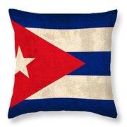 Cuba Flag Vintage Distressed Finish Throw Pillow