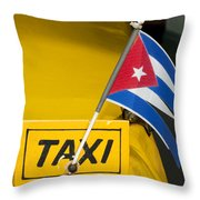 Cuba Taxi Throw Pillow by Norman Pogson
