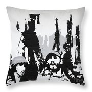 Cuban Revolution Painted On A Wall Throw Pillow